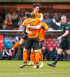 Dundee United's Dillon Powers (4) cele scoring their first half goal. half time : Dundee United 1 v 0 Partick Thistle, Scottish Championship game played 7/3/2020 at Dundee United's stadium Tannadice Park.