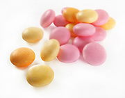 Various colours and flavours of Sugar coated almonds
