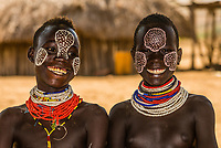 Young teenage Kara tribe girls, Omo Valley, Ethiopia.
