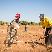 CAPTION: Velinasi and Fidelis, hard at work in one of their fields. At this time, the family is preparing their land for groundnuts and maize by building small ridges in the fields. However, following the advice of World Renew and its local partner the Reformed Church of Mozambique, they have decided to flatten some of these ridges to make way for more 'conservation farming'. This method makes much better use of the available space. LOCATION: Nsanja-Seze, Vila Ulongwe area, Angonia District, Tete Province, Mozambique. INDIVIDUAL(S) PHOTOGRAPHED: Velinasi Kaliofasi (left) and Fidelis Dickson (right).