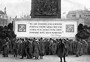 World War I recruitment poster in Trafalgar Square, London.