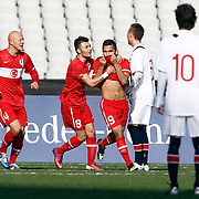Turkey U21's Bertul Kocabas (C) celebrate his goal during their friendly soccer match Turkey U21 betwen Norway U21 at Ataturk Olympic stadium in Istanbul February 06, 2013. Photo by Aykut AKICI/TURKPIX