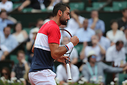 June 4, 2018 - Paris, France - MARIN CILIC of Croatia plays against Fabio Fognini of Italy.during their 8th final match of the French Tennis Open 2018 at Roland Garros.  Cilic won 6-4, 6-1, 3-6, 6-7, 6-3  (Credit Image: © Maya Vidon-White via ZUMA Wire)