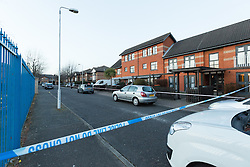 © Licensed to London News Pictures. 25/03/2016. London, UK. Police cordon in Magpie Close in Forest Gate, east London. Five people have been taken to hospital, with one man in a critical condition. Photo credit : Vickie Flores/LNP