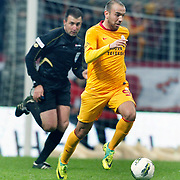 Galatasaray's Sercan YILDIRIM during their Turkish Super League soccer match Galatasaray between Bursaspor at the TT Arena at Seyrantepe in Istanbul Turkey on Sunday 16 October 2011. Photo by TURKPIX