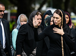 March 22, 2019, Christchurch, New Zealand - New Zealand Prime Minister JACINDA ARDERN (R) attends a national silence in mourning the Christchurch massacre victims in Christchurch, New Zealand. One week after the Christchurch terrorist attacks, New Zealanders across the country stood together in two minutes' silence to remember those who had been killed while worshipping at two mosques last Friday afternoon. (Credit Image: © Xinhua via ZUMA Wire)