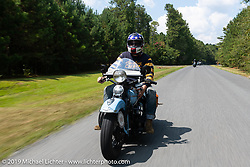 CCC event promoter Jason Sims riding his 1946 Harley-Davidson Model U Flathead in his Cross Country Chase motorcycle endurance run from Sault Sainte Marie, MI to Key West, FL. (for vintage bikes from 1930-1948). Stage-6 from Chattanooga, TN to Macon, GA USA covered 258 miles. Wednesday, September 11, 2019. Photography ©2019 Michael Lichter.