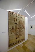 "Linz, Cultural Capital of Europe 2009. Schlossmuseum (Castle Museum). Exhibition ""Kulturhauptstadt des Fu?hrers"" Kunst und Nationalsozialismus in Linz und Obero?sterreich (Cultural Capital of the Fu?hrer?Art and National Socialism in Linz and Upper Austria). Tapestry ""Des Fu?hrers Heimatgau"" after a design by Karl Sellners, 1940."