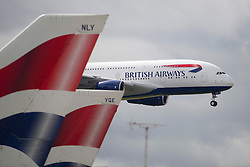 04/07/2013 . London, UK.  A Beoing 380 landing at Heathrow Airport on July 4, 2013. It was the first time British Airlines have taken delivery of the new plane, making British Airways the first European airline to operate both the 787 and A380. Photo credit : Ben Cawthra/