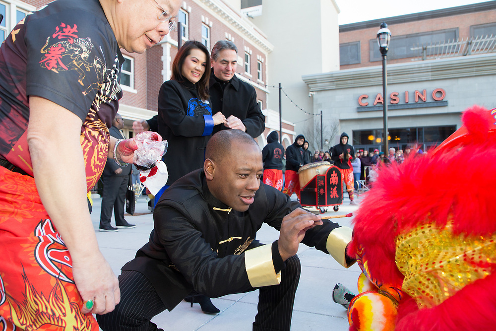 Traditional Chinese New Year Lion Dance and Eye-dotting Blessing Ceremony.