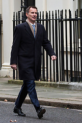 London, UK. 18th December, 2018. Jeremy Hunt MP, Secretary of State for Foreign and Commonwealth Affairs, arrives at 10 Downing Street for the final Cabinet meeting before the Christmas recess. Topics to be discussed were expected to include preparations for a 'No Deal' Brexit.