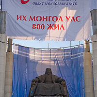 A massive sculpture of Genghis Khan sits in front of Mongolia's parliament building, overlooking Sukhbaatar Square in Ulaan Baatar. The banners proclaim the upcoming 800th anniversary of Genghis Khan unifying warring tribes in the country of Mongolia (and from which he would lead armies that conquered much of the world.)