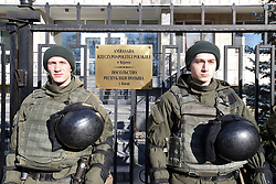 February 5, 2018 - Kyiv, Ukraine - National Guard officers are on duty outside the Embassy of the Republic of Poland during a rally urging to cancel the law on the Institute of National Remembrance adopted by the Senate of Poland early on February 1 the Senate of Poland, Kyiv, capital of Ukraine, February 5, 2018. Ukrinform. (Credit Image: © Tarasov/Ukrinform via ZUMA Wire)
