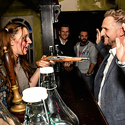 A zombie point a gun at Chris Shannon attend BBC1 All Together Now Series 1 Cast Members, fright night at The London Bridge Experience & London Tombs on 28 October 2018, London, UK.