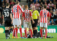 Referee Martin Atkinson makes his point to Marc Muniesa of Stoke City  amid accusations of time-wasting by Burnley -  Football - Barclays Premier League - Stoke City vs Burnley - Britannia Stadium Stoke - Season 2014/2015 - 22nd November 2015 - Photo Malcolm Couzens /Sportimage
