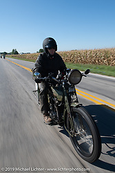 Todd Cameron riding his 1917 Harley-Davidson Model J in the Motorcycle Cannonball coast to coast vintage run. Stage 6 (260 miles) from Bourbonnais, IL to Cedar Rapids, IA. Thursday September 13, 2018. Photography ©2018 Michael Lichter.