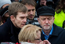 © Licensed to London News Pictures. FILE PICTURE: 26/02/2016. London, UK. SEUMAS MILNE (left) Leader of the labour party JEREMY CORBYN (right) attend a CND (Campaign for Nuclear Disarmament) rally in central London on February 27, 2016. A BBC Panorama documentary, focusing on alleged anti semitism in the Labour Party is due to run this evening.. Photo credit: Ben Cawthra/LNP
