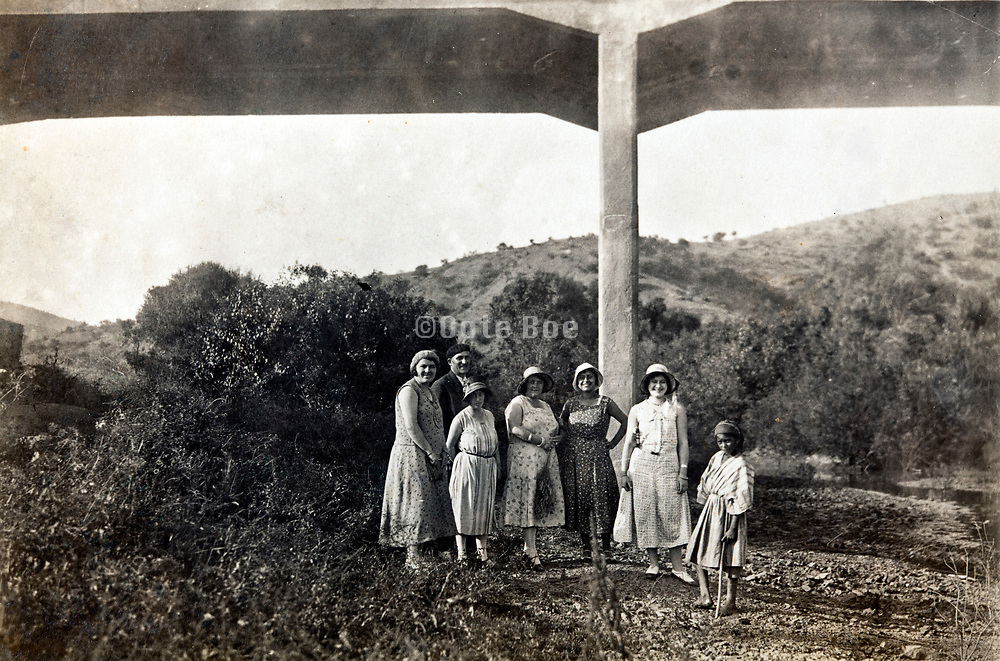 people posing by a new concrete bridge over a valley Morocco 1930s