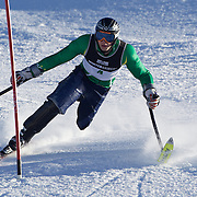 Cameron Rahles-Rahbula, Australia,  in action during the Men's Slalom Standing, Adaptive Slalom competition at Coronet Peak, New Zealand during the Winter Games. Queenstown, New Zealand, 25th August 2011. Photo Tim Clayton