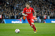 Alberto Moreno of Liverpool in action. Capital One Cup Final, Liverpool v Manchester City at Wembley stadium in London, England on Sunday 28th Feb 2016. pic by Chris Stading, Andrew Orchard sports photography.
