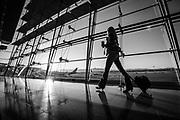 Airport traveler at the Las Vegas Airport, Las Vegas, Nevada.