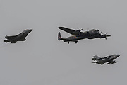 The Battle of Britain Memorial flight Lancaster, is joined by a Tornado and a Lightning II for 617 Squadron fly past - The Duxford Battle of Britain Air Show is a finale to the centenary of the Royal Air Force (RAF) with a celebration of 100 years of RAF history and a vision of its innovative future capability.