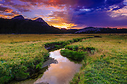 Sunset over Tuolumne Meadows along Budd Creek, Yosemite National Park, California
