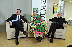 Leader of the Conservative Party David Cameron gives a speech at Demos with Frank Field Labour MP for Birkenhead and © Camila Batmanghelidjh, Founder and Director of Kids Company, London, Monday January 11, 2010. Photo By Andrew Parsons / i-Images.