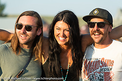 Mark Buche, Kelly Yazde and Cameron Brewer after the Hooligan flat track races at the Buffalo Chip during the 78th annual Sturgis Motorcycle Rally. Sturgis, SD. USA. Wednesday August 8, 2018. Photography ©2018 Michael Lichter.