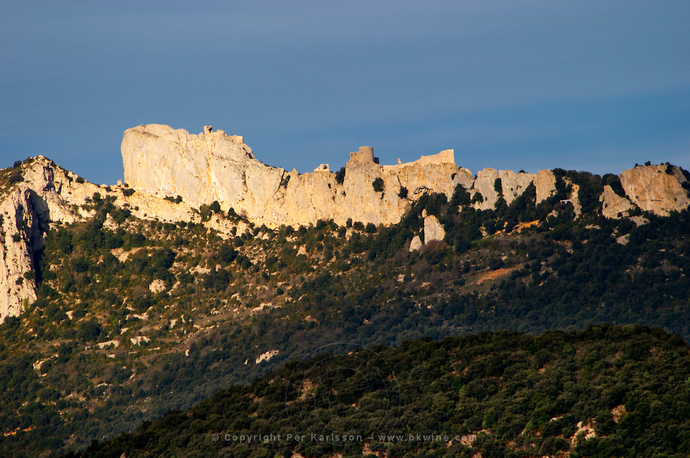 Chateau de Peyrepertuse. Chateau de Peyrepertuse. Hilltop Cathar fortification. Les Pays and Chateaux Cathares. Languedoc. The ruins of a chateau fortress. France. Europe.