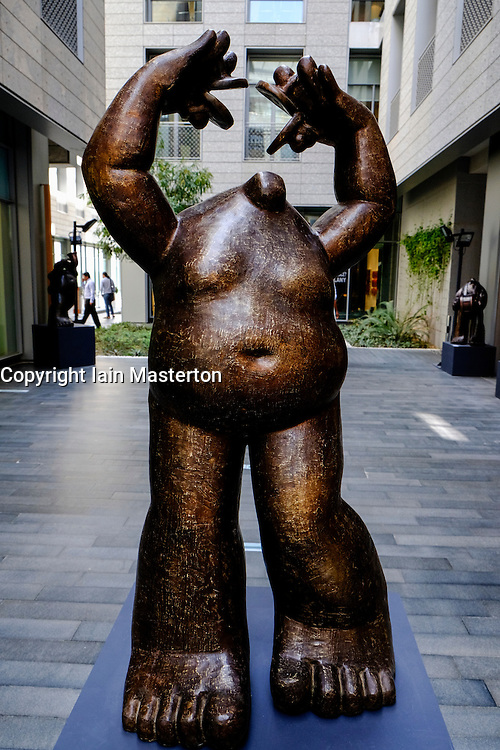 Sculpture at The Gate Village with many art galleries at DIFC Dubai International Financial Center in Dubai United Arab Emirates