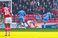 Jordy Hiwula of Coventry City (11) scores a goal to make the score 1-1 during the EFL Sky Bet League 1 match between Barnsley and Coventry City at Oakwell, Barnsley, England on 30 March 2019.