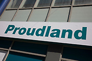 Sign for the pound shop and discount brand Poundland using the word proudland in Birmingham, United Kingdom.
