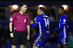 Birmingham City's Che Adams (centre) appeals to referee Chris Kavanagh after a penalty shout