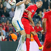 Turkey's Umut Bulut (R) and Czech Republic's Tomas Sivok (L) during their UEFA Euro 2016 qualification Group A soccer match Turkey betwen Czech Republic at Sukru Saracoglu stadium in Istanbul October 10, 2014. Photo by Aykut AKICI/TURKPIX
