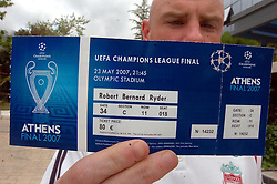Athens, Greece - Wednesday, May 23, 2007: A fake ticket with the name of Liverpool striker Robbie Fowler printed on, Robert Bernard Ryder, ahead of the UEFA Champions League Final against AC Milan. (Pic by Jason Roberts/Propaganda)