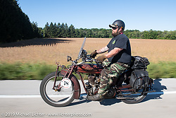 Clint Funderburg riding his 1916 Indian Powerplus in the Motorcycle Cannonball coast to coast vintage run. Stage 5 (229 miles) from Bowling Green, OH to Bourbonnais, IL. Wednesday September 12, 2018. Photography ©2018 Michael Lichter.