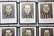 Framed photographs of female camp inmates, Auschwitz, Poland.