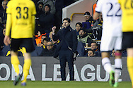 Mauricio Pochettino, the Tottenham Hotspur manager gestures on the touchline. UEFA Europa League round of 16, 2nd leg match, Tottenham Hotspur v Borussia Dortmund at White Hart Lane in London on Thursday 17th March 2016<br /> pic by John Patrick Fletcher, Andrew Orchard sports photography.