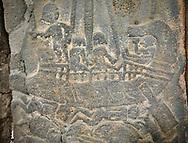 Pictures & images of the North Gate Hittite sculpture stele depicting Hittite ship on a sea of fish. 8th century BC. Karatepe Aslantas Open-Air Museum (Karatepe-Aslantaş Açık Hava Müzesi), Osmaniye Province, Turkey.