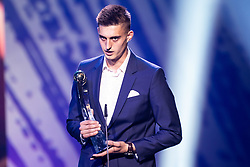 Anel Hajric of NK Radomlje with trophy for best player in 2nd Slovenian football league during SPINS XI Nogometna Gala 2019 event when presented best football players of Prva liga Telekom Slovenije in season 2018/19, on May 19, 2019 in Slovene National Theatre Opera and Ballet Ljubljana, Slovenia. Photo by Grega Valancic / Sportida.com
