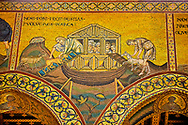 Medieval Byzantine mosaics of Noah putting animals into the arc, Monreale Cathedral, Sicily .<br /> <br /> If you prefer you can also buy from our ALAMY PHOTO LIBRARY  Collection visit : https://www.alamy.com/portfolio/paul-williams-funkystock/monrealeduomomosaics.html. Refine search by adding subject etc  into the LOWER SEARCH WITHIN GALLERY box. <br /> <br /> Visit our BYZANTINE MOSAIC PHOTO COLLECTION for more   photos  to download or buy as prints https://funkystock.photoshelter.com/gallery-collection/Roman-Byzantine-Art-Artefacts-Antiquities-Historic-Sites-Pictures-Images-of/C0000lW_87AclrOk
