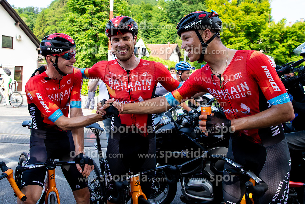 Matej MOHORIC of BAHRAIN VICTORIOUS, Phil BAUHAUS of BAHRAIN VICTORIOUS and Jonathan MILAN of BAHRAIN VICTORIOUS celebrate after 1st Stage of 27th Tour of Slovenia 2021 cycling race between Ptuj and Rogaska Slatina (151,5 km), on June 9, 2021 in Slovenia. Photo by Matic Klansek Velej / Sportida