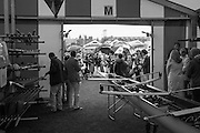 Henley on Thames. United Kingdom. Parents and Supporters of Abingdon School, congregate at the entrance of the boat bay, waiting for the crew to boat.  Wednesday,  29/06/2016,   13:52:36   2016 Henley Royal Regatta, Henley Reach.   [Mandatory Credit Peter Spurrier/ Intersport Images]