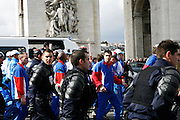 Monday April 7th 2008. Paris, France..Olympic torch relay in Paris causes troubles..Place Charles de Gaulle Etoile.