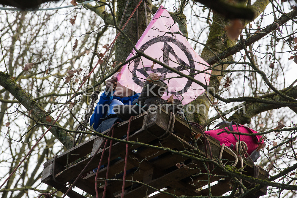 Harefield, UK. 20 January, 2020. An activist waves an Extinction Rebellion flag from a pallet high in a tree at the Colne Valley wildlife protection camp. Extinction Rebellion, Stop HS2 and Save the Colne Valley had reoccupied the camp two days before as part of an ongoing attempt to protect ancient woodland threatened by the HS2 high-speed rail link after a small group of Stop HS2 activists had been evicted by bailiffs over the course of the previous two weeks. 108 ancient woodlands are set to be destroyed by the high-speed rail link. Credit: Mark Kerrison/Alamy Live News