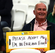 English fan wanting to be adopted during the Rugby World Cup Pool B match between South Africa and USA at the Queen Elizabeth II Olympic Park, London, United Kingdom on 7 October 2015. Photo by Matthew Redman.