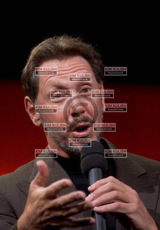 Larry Ellison, CEO Oracle,  gestures during  his keynote speech to Oracle customers at the annual Oracle Open World  Conference Dec 8, 2004 in San Francisco, Calif. In his address, Ellison restated his plans to takeover  software rival PeopleSoft and wished he could do the same with the San Francisco 49er's football team  Photo by Kim Kulish
