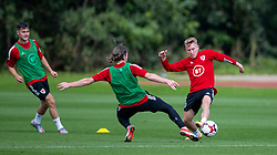 CARDIFF, WALES - Monday, August 31, 2020: Wales' Ollie Cooper (Swansea City FC) (R) during a training session at the Vale Resort ahead of the UEFA Under-21 Championship Qualifying Round Group 9 match between Bosnia and Herzegovina and Wales. (Pic by David Rawcliffe/Propaganda)