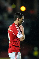 Bristol City's Sam Baldock cuts a dejected figure - Photo mandatory by-line: Dougie Allward/JMP - Tel: Mobile: 07966 386802 14/01/2014 - SPORT - FOOTBALL - Vicarage Road - Watford - Watford v Bristol City - FA Cup - Third Round - replay